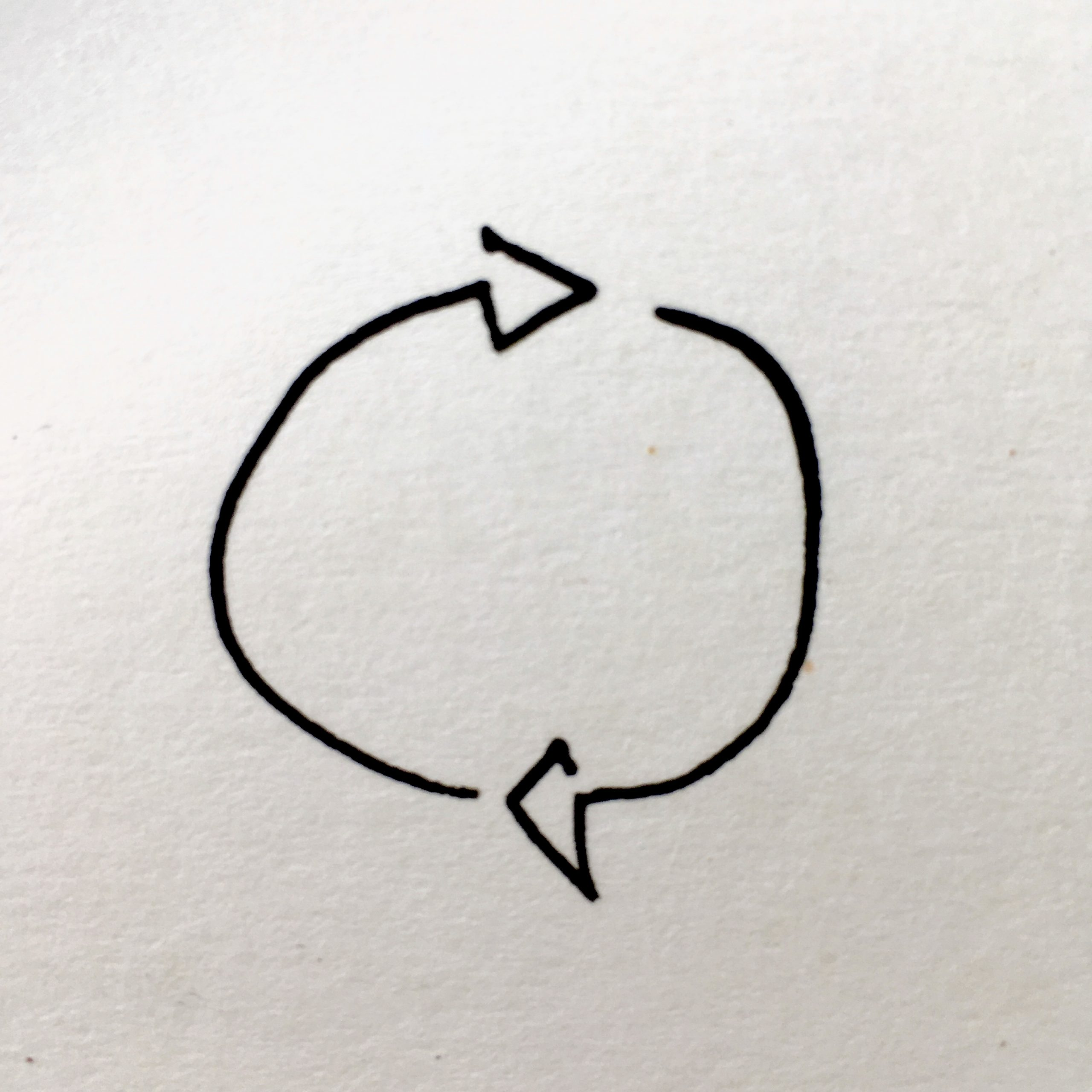 characterful live drawing of two arrows looping back into each other