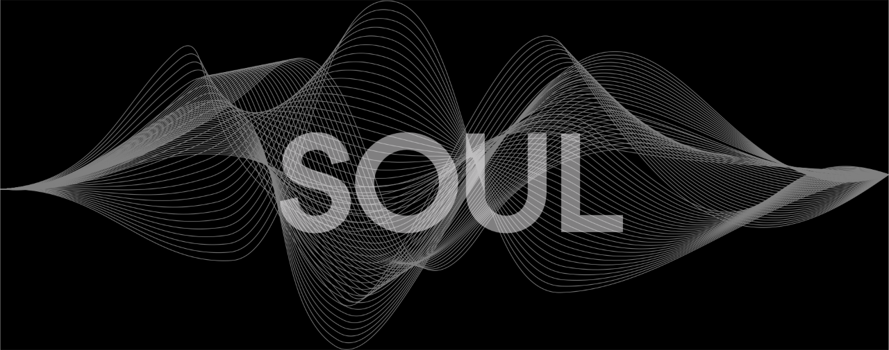 Soul logo immersed in a 3D sound wave graphic